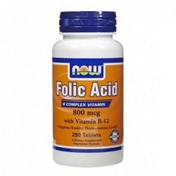 NOW Folic Acid 800mcg + B-12 25mcg | 250 vtabs