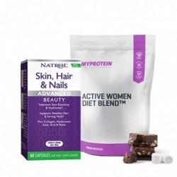 Комбо Оферта - Myprotein Active Women Diet Blend + Natrol Skin Hair Nails + Collagen   0.500kg + 60 caps
