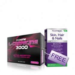 Комбо Оферта - XCore L-Carnitine 3000 + Natrol Skin Hair Nails - Collagen FREE | 20 amp + 60 caps
