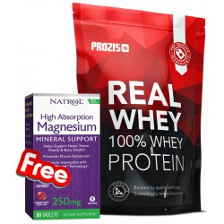 1+1 FREE - Prozis Real Whey Protein + Natrol Magnesium High Absorption