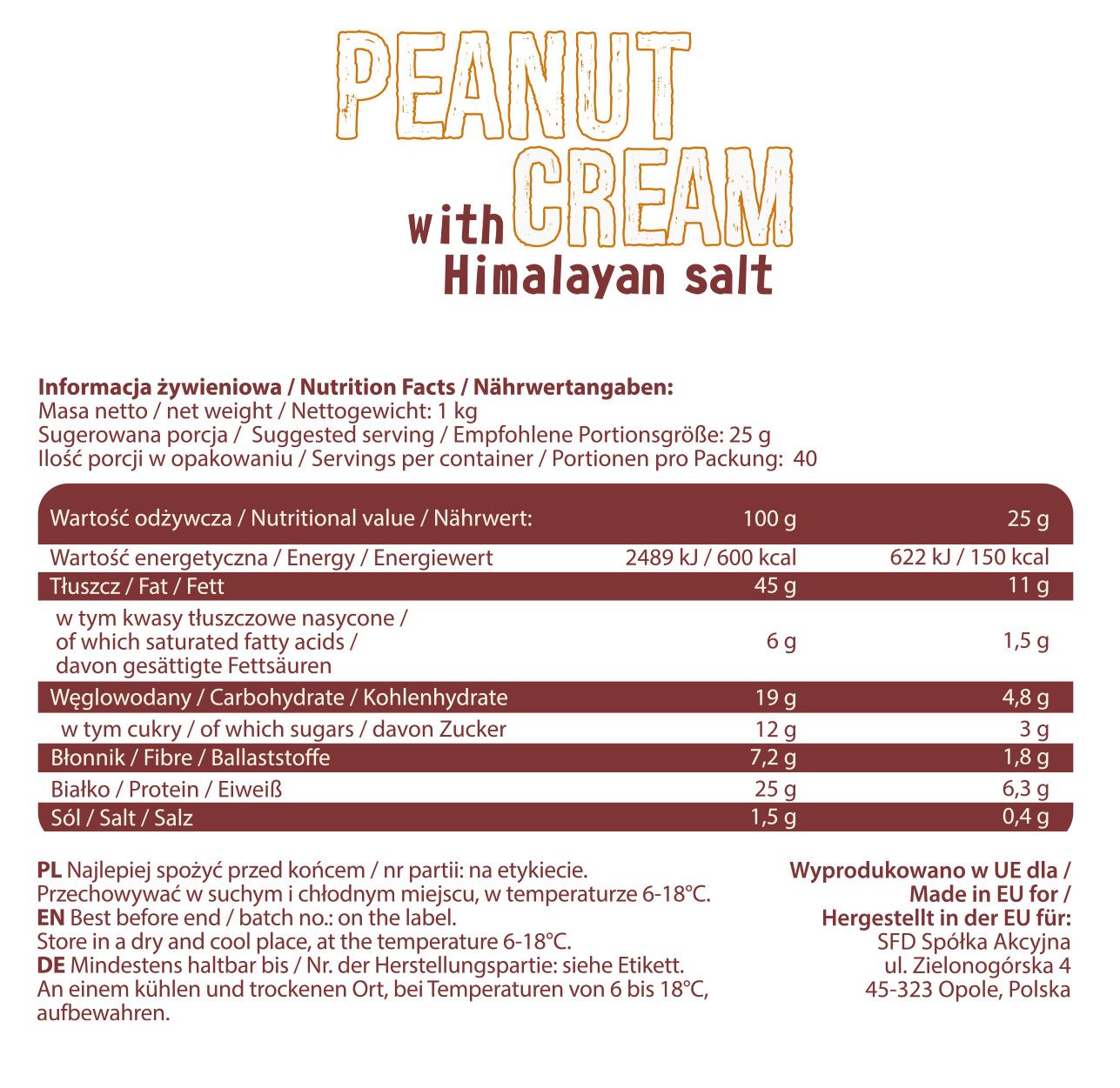 Съдържание на AllNutrition Peanut Cream Himalayan Salt