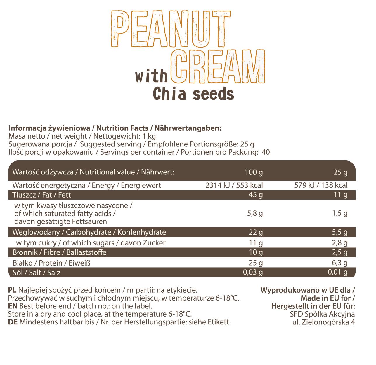 Съдържание на AllNutrition  Peanut Cream Chia Seeds
