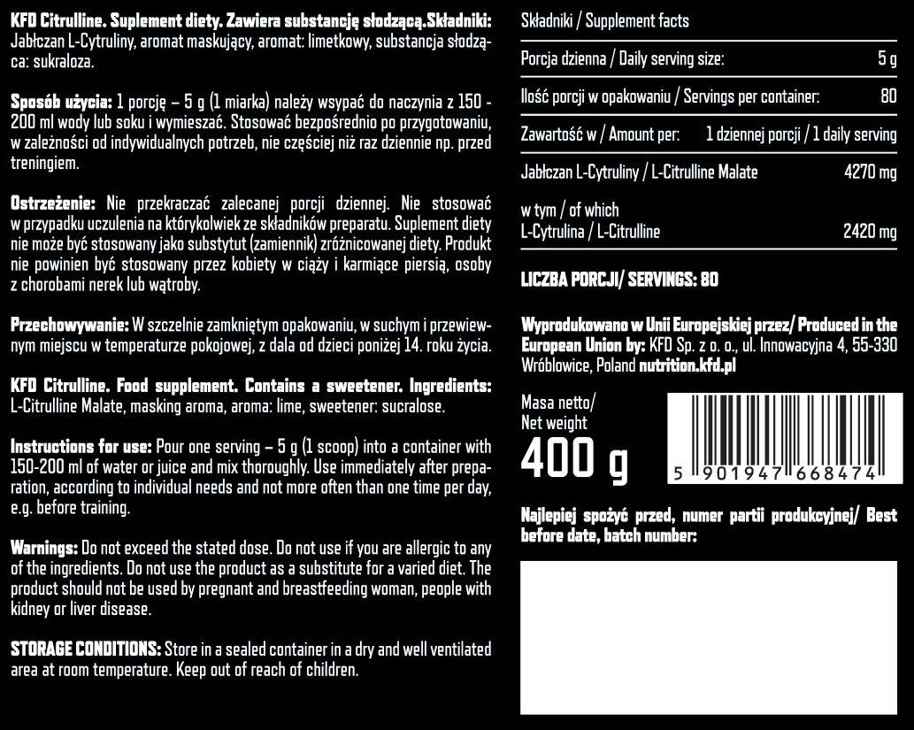 Съдържание на KFD Premium Citrulline