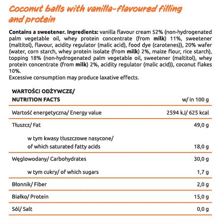 Съдържание на KFD Coconut Balls with Vanilla