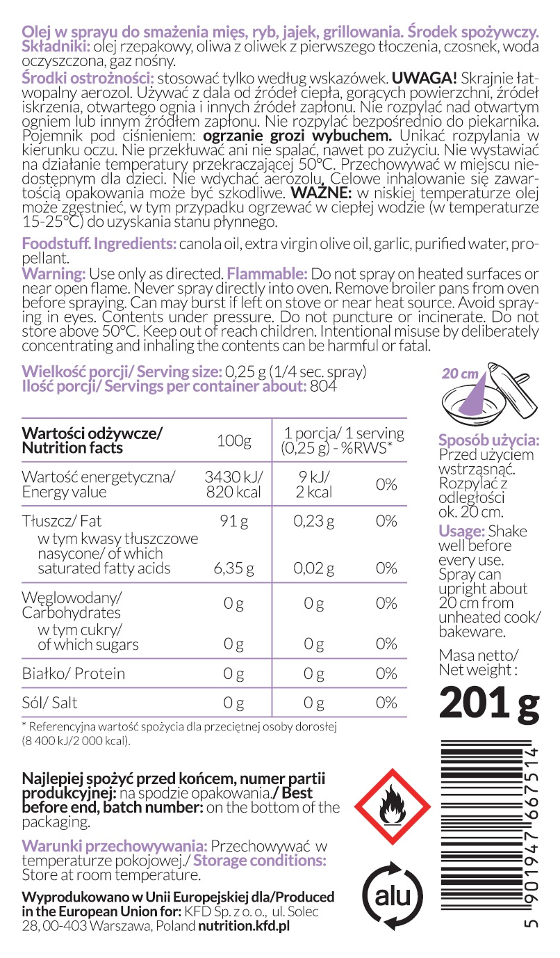 Съдържание на KFD Cooking Spray - Garlic