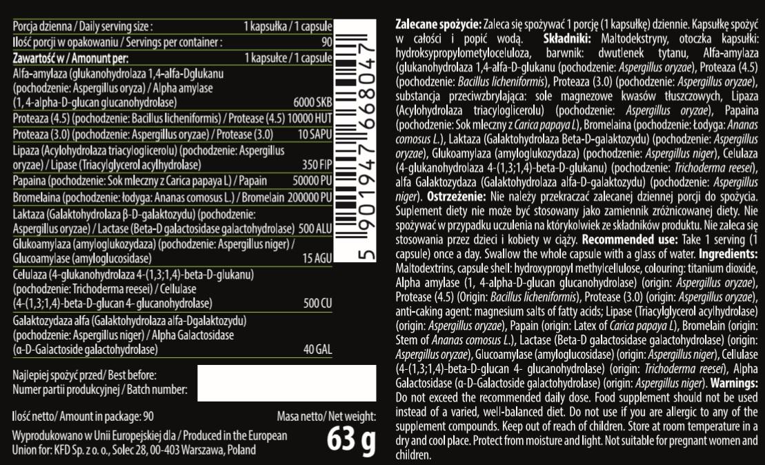 Съдържание на KFD Gastro 10 - Dygestive Enzymes