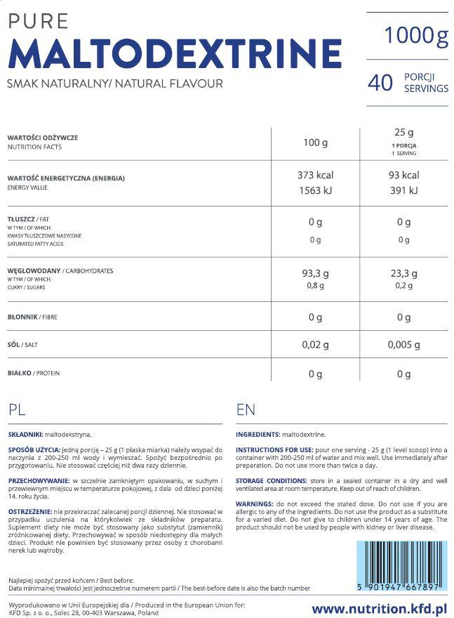 Съдържание на KFD Pure Maltodextrine