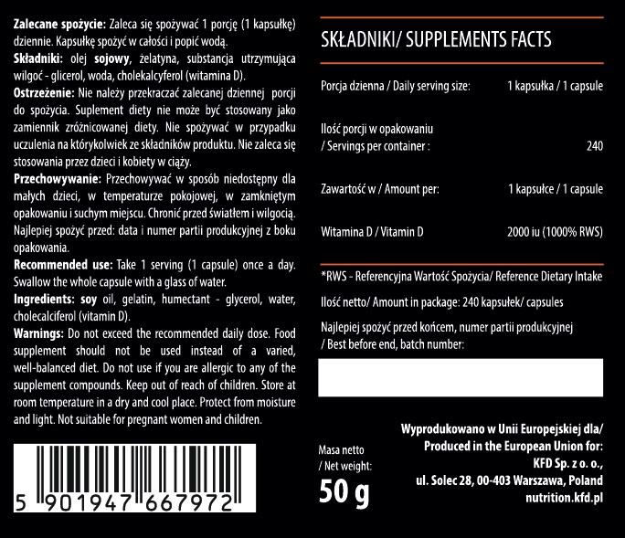 Съдържание на KFD Vitamin D3 2000IU