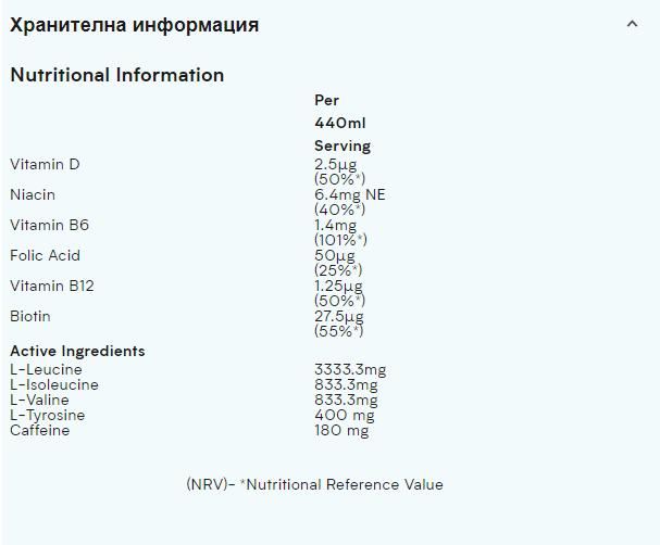 Съдържание на Myprotein BCAA Drink