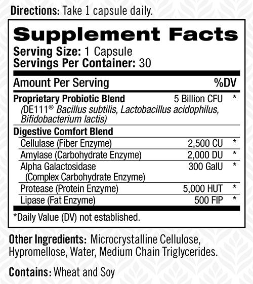 съдържание на Natrol Well Belly Probiotics + Enzymes