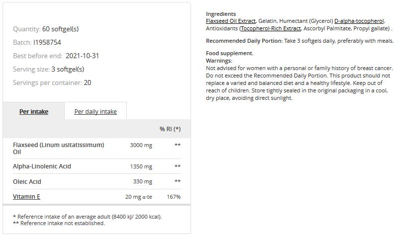Съдържание на Prozis Flaxseed Oil + Vitamin E