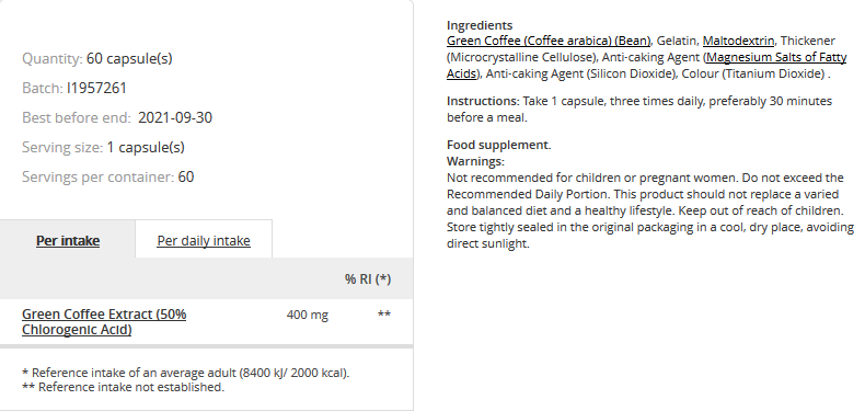Съдържание на Prozis Green Coffee Extract
