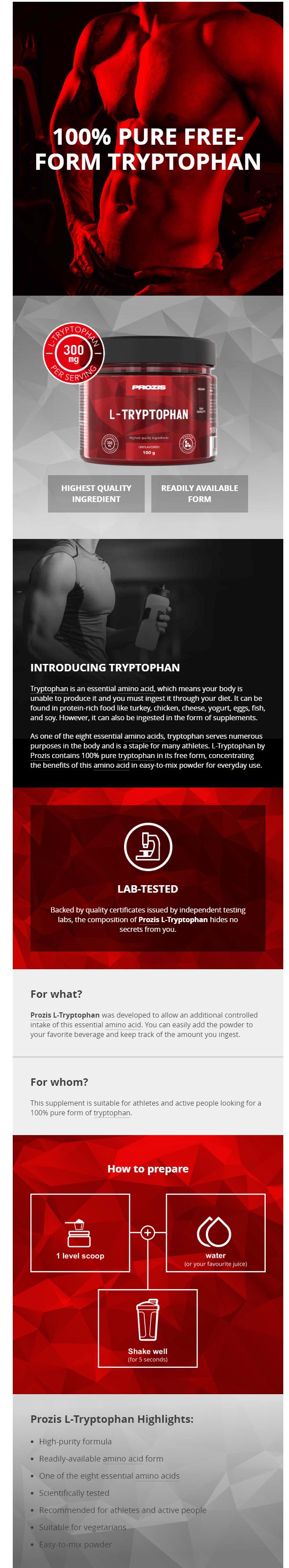 Представяне на Prozis L-Tryptophan